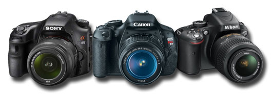 Sony A65 vs Canon T3i 600D vs Nikon D5100 mid range entry level DSLR comparison