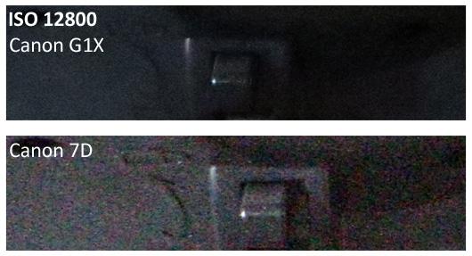 Canon G1X vs 7D ISO 12800