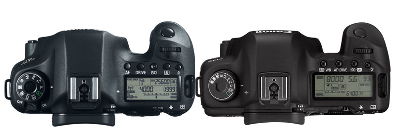 Canon 6D vs 5D Mark II Top