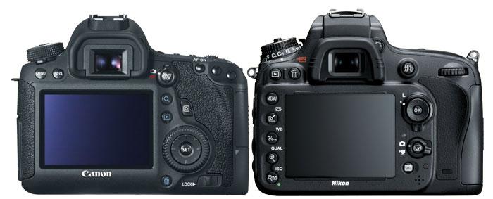 Canon 6D vs Nikon D600 Back