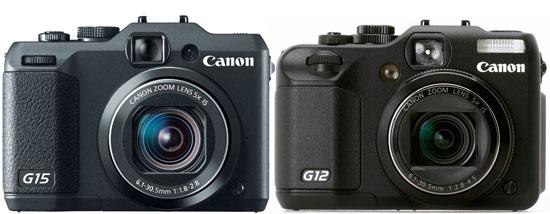 source Canon G15 vs. Canon G12 specification comparison review, see