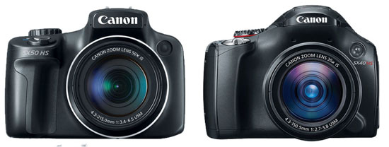 canon sx50 hs vs canon sx40 hs specification comparison review
