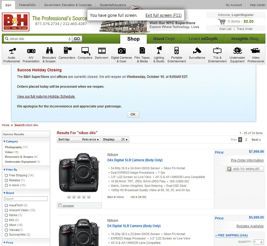Nikon D4X Leaked at B&H [Hoax]