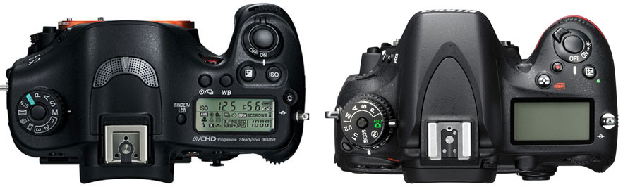 Sony A99 vs Nikon D600 Top
