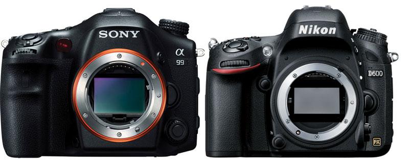 Sony A99 vs Nikon D600 Front