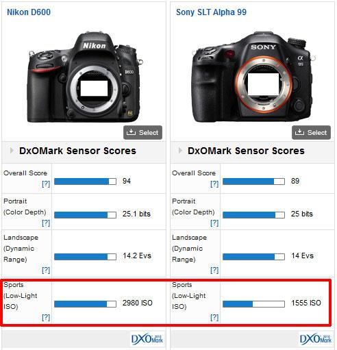 Nikon D600 vs Sony A99