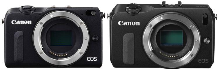 Canon EOS M 2 (left) is 10% smaller than Canon EOS M (right)