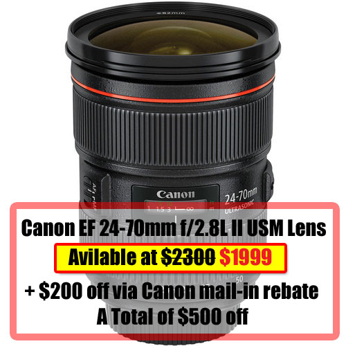 Super Deal: Canon 24-70mm F2.8L II Available at $1800 (only)
