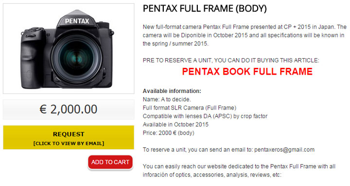 Pentax fullframe new camera for New camera 2015