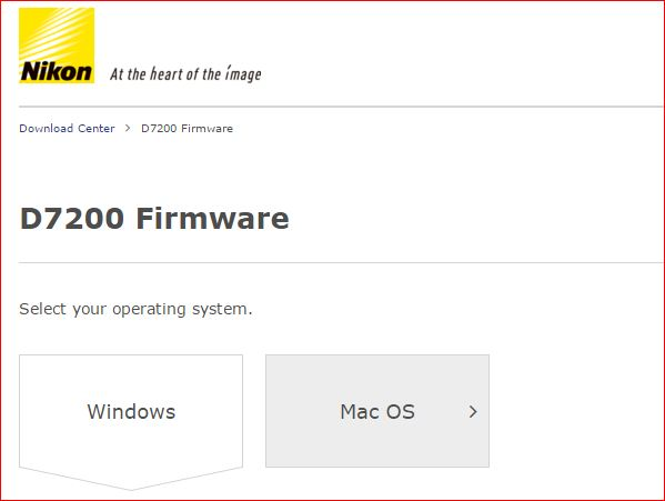 Nikon D7200 firmware update