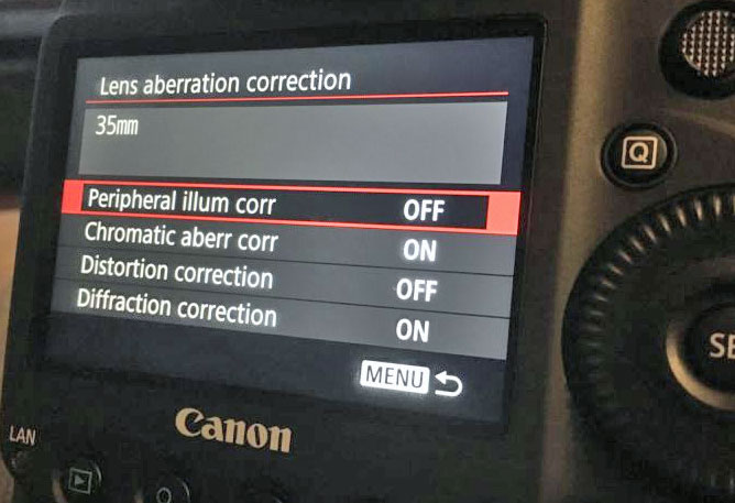 Canon Lens correction tool image