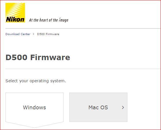 Nikon D500 firware uodate image