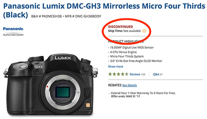 Panasonic GH3 camera terminated