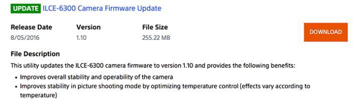 Sony firmware update