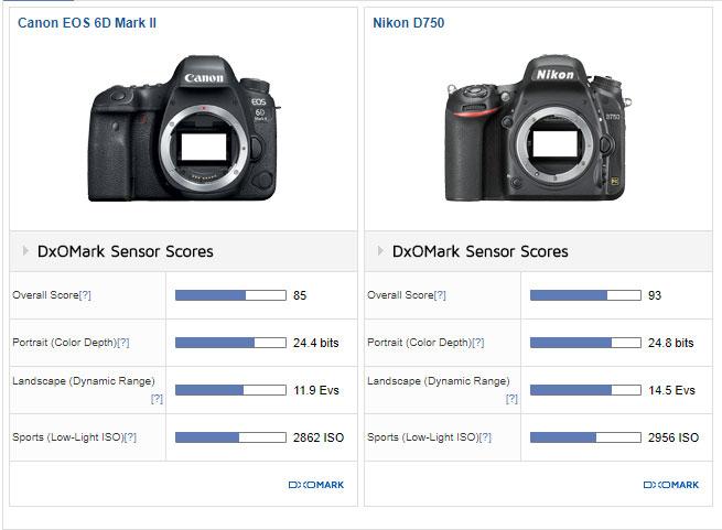 Canon 6D Mark II vs Nikon D750