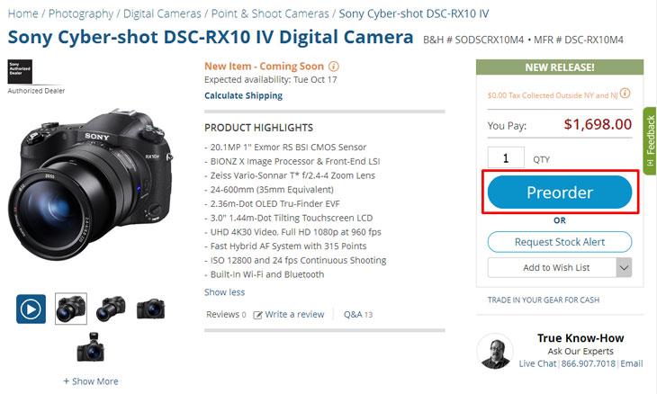 Sony RX10 pre-order page