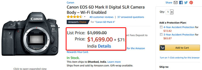 Canon 6D Mark II Price